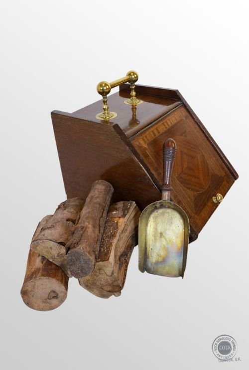 antique coal box fireside victorian log bin purdonium with brass shovel c1900