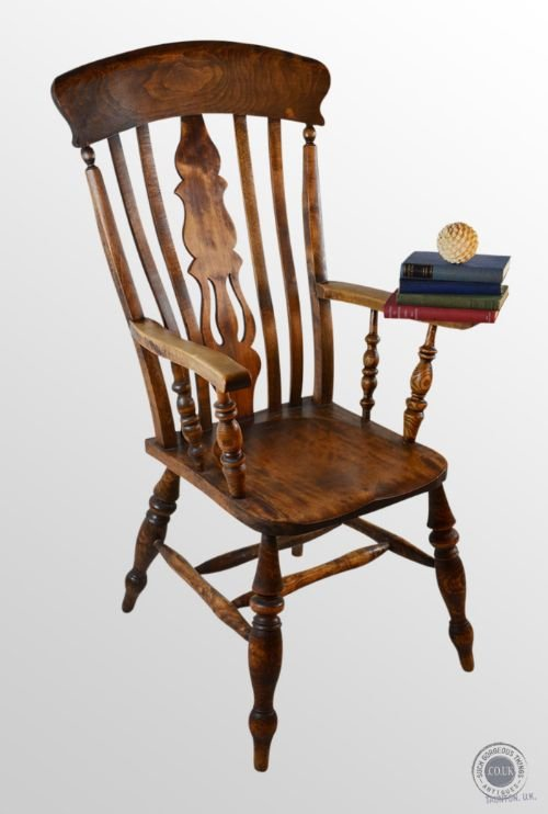 antique windsor high back chair country beech kitchen fireside armchair  c1900 - Antique Windsor High Back Chair Country Beech Kitchen Fireside
