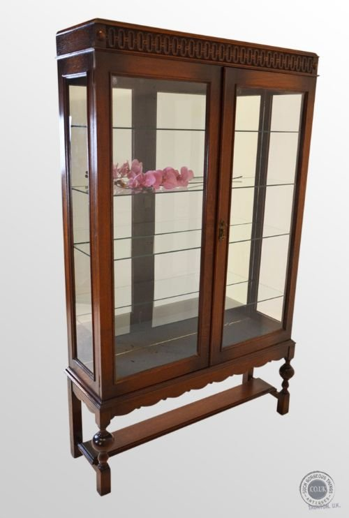 antique oak large glazed display case mirrored china cabinet c1910 safety  glass - Antique Oak Large - Antique Oak Display Cabinet Antique Furniture