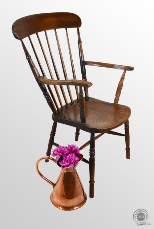antique windsor high back chair country elm ash stick armchair c1890