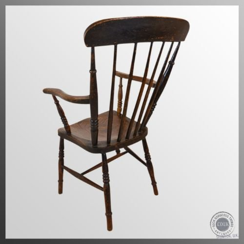 antique windsor high back chair country elm ash stick armchair c1890 - photo angle #4