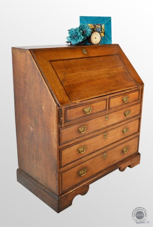 antique georgian bureau large english oak fall front writing desk c1720 152207. Black Bedroom Furniture Sets. Home Design Ideas