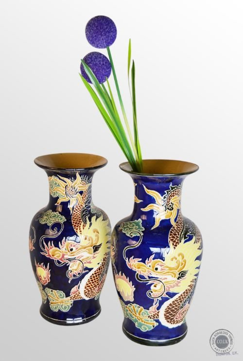 antique pair of victorian china porcelain vases chinese dragon royal blue c1900