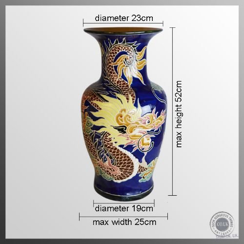 antique pair of victorian china porcelain vases chinese dragon royal blue c1900 - photo angle #2