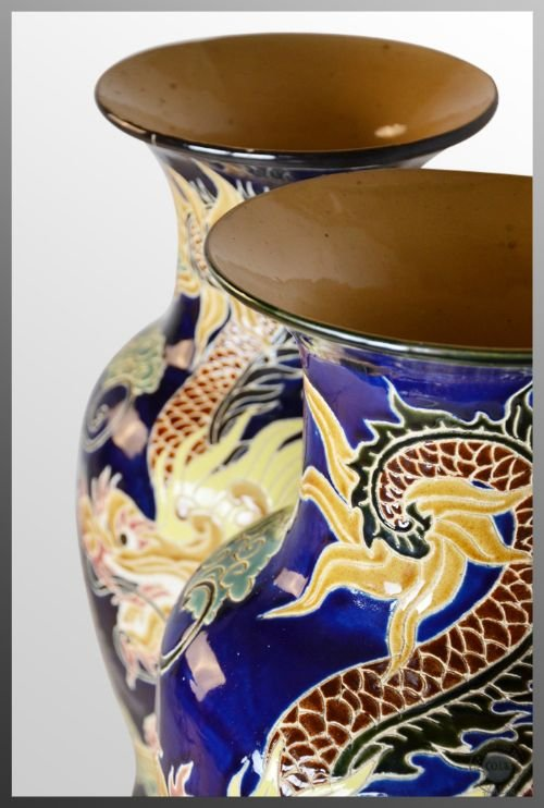 antique pair of victorian china porcelain vases chinese dragon royal blue c1900 - photo angle #3