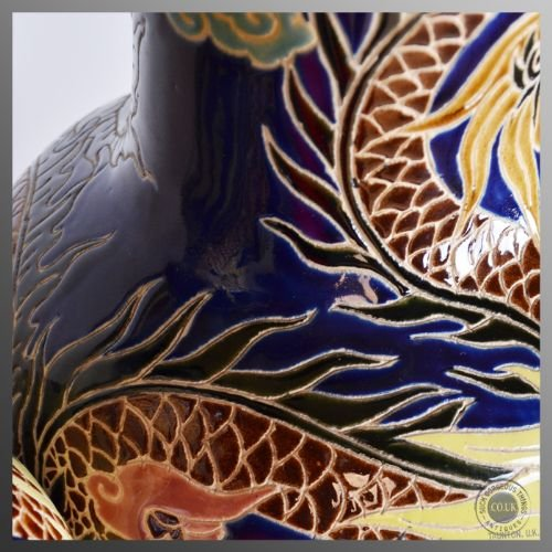antique pair of victorian china porcelain vases chinese dragon royal blue c1900 - photo angle #4