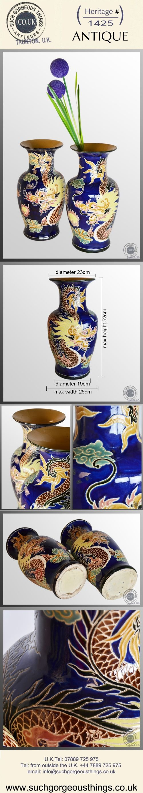 antique pair of victorian china porcelain vases chinese dragon royal blue c1900 - photo angle #5