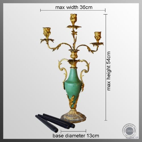 antique candelabra triple candle table centre piece italian gilt metal c1850 - photo angle #2