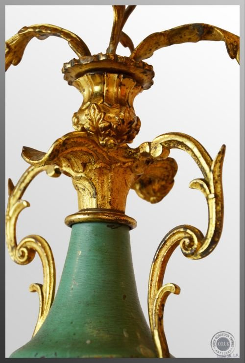 antique candelabra triple candle table centre piece italian gilt metal c1850 - photo angle #3