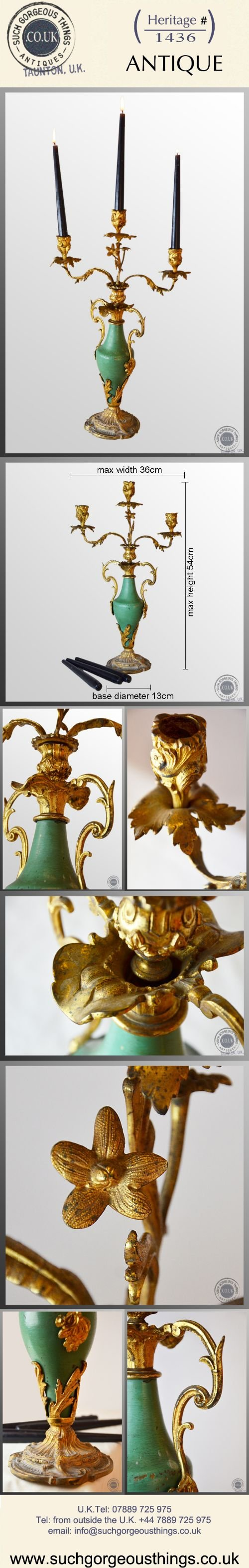 antique candelabra triple candle table centre piece italian gilt metal c1850 - photo angle #5