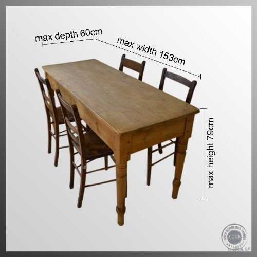 Antique Victorian Pine Kitchen Dining Table Narrow 4 6