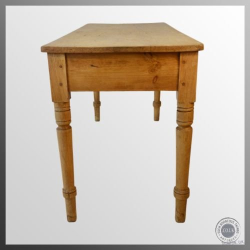 Antique Victorian Pine Kitchen Dining Table Narrow 4