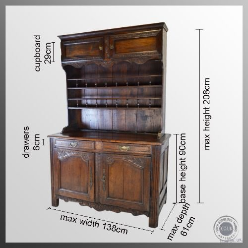 antique oak walnut french country dresser kitchen buffet display cabinet c1800 - photo angle #2