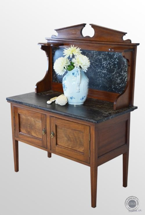 Antique Wash Stand Marble Top Late Victorian Washstand Vanity Table C1900