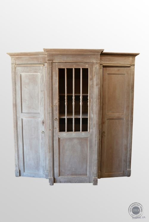 antique french cabinet confessional booth wardrobe kitchen larder cupboard  c1850 - Antique French Cabinet Confessional Booth Wardrobe Kitchen Larder