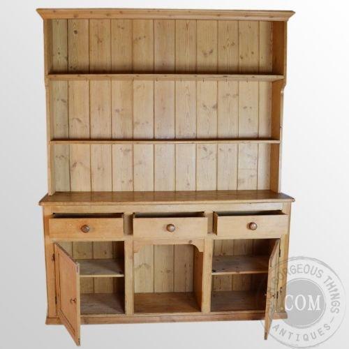 Antique victorian pine dresser welsh country kitchen dog for Antique pine kitchen cabinets
