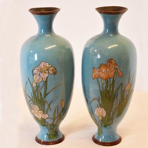 Antique Art Nouveau Cloisonne Vase Cloisonn Pair Of Baluster Vases