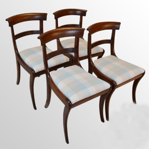 Antique Set 4 Four Fine English Regency Sabre Leg Mahogany Dining Chairs C1830