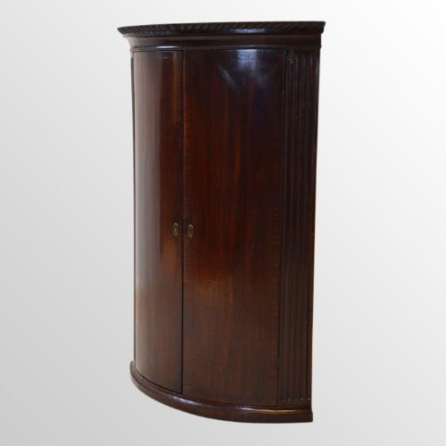 antique bow front corner cabinet wall cupboard english georgian mahogany  c1800 - Antique Bow Front Corner Cabinet Wall Cupboard English Georgian