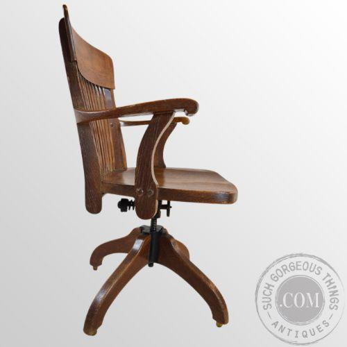Oak Office Study Chair J S Ford Johnson Chicago Original Antique Armchair C1910 179251