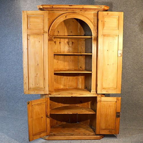 antique tall corner cupboard victorian pine display cabinet english c1850 - Antique Tall Corner Cupboard Victorian Pine Display Cabinet English