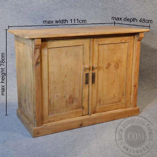 page load time 0.13 seconds - Antique Original Victorian Pine Cabinet Twin Door Cupboard