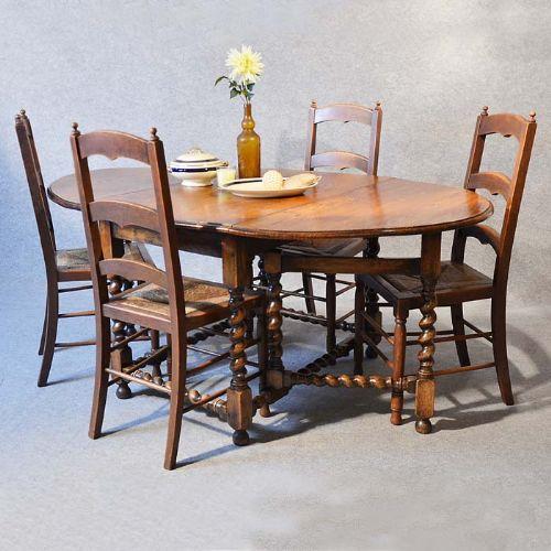 Antique gate leg oak drop leaf oval country kitchen dining for Oak kitchen table with leaf