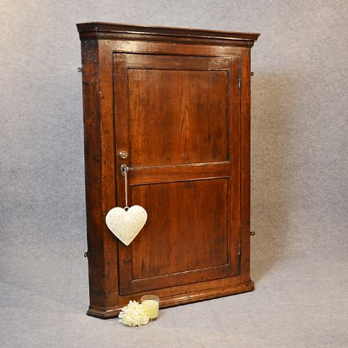 antique oak large corner cupboard wall hanging cabinet english georgian c1800