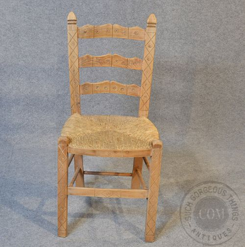 Antique Pair Quality Victorian Pine Kitchen Dining Country Chairs C1890 198