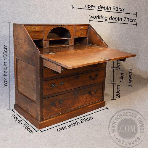 Antique Oak Bureau Large 17th Century English Writing Desk