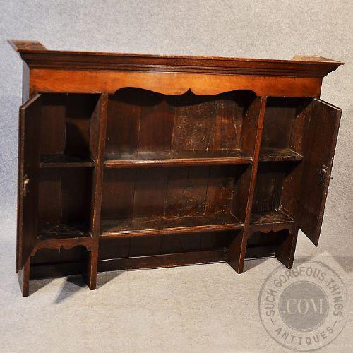 Antique Georgian Oak Plate Rack Dresser Top China Display