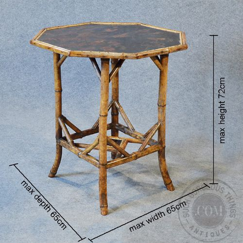 Antique Victorian Bamboo Table Two Tier Oriental Lamp