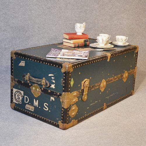Vintage Coffee Table Shipping Trunk Travel Case Steamer Luggage By