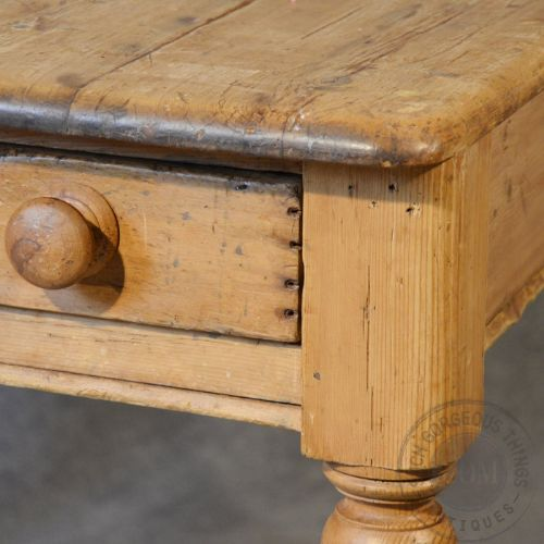 Antique Victorian Pine Kitchen Dining Table With Drawer 2