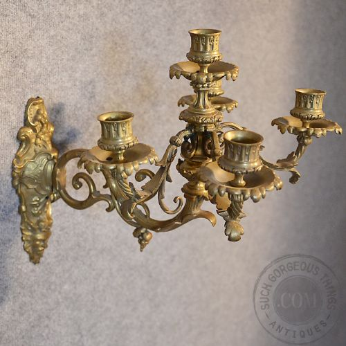 Antique French Wall Sconces : Antique French Wall Sconce Candelabra Pair Ornate Candle Sticks Gilt Metal C1900 209334 ...