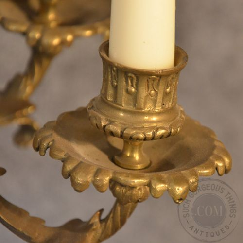 Antique French Wall Sconce Candelabra Pair Ornate Candle ...