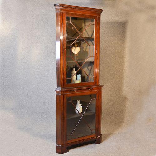 antique tall corner cupboard display cabinet victorian mahogany english  c1900 - Antique Tall Corner Cupboard Display Cabinet Victorian Mahogany