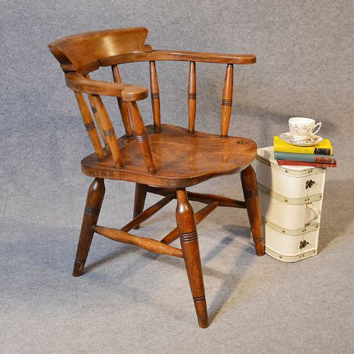 antique character windsor smokers bow armchair country elm captains chair  c1880 - Antique Character Windsor Smokers Bow Armchair Country Elm Captains