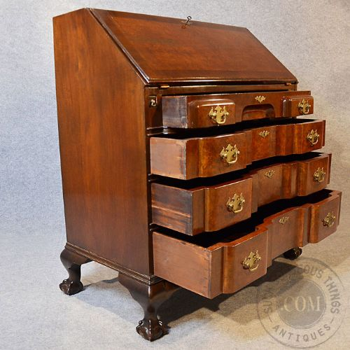 antique art deco writing desk bureau quality serpentine front burr walnut c1930 213161. Black Bedroom Furniture Sets. Home Design Ideas