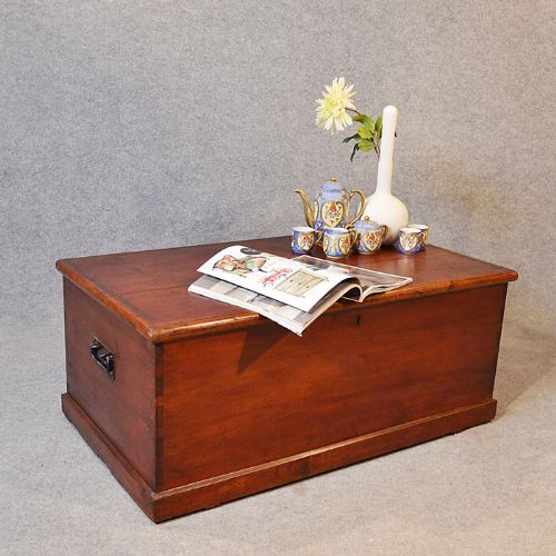 Antique Coffee Table Blanket Box Chest Shipping Trunk English Victorian C1870 213169
