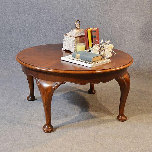 Antique Coffee Table Low Round Sofa Circular Magazine Occasional