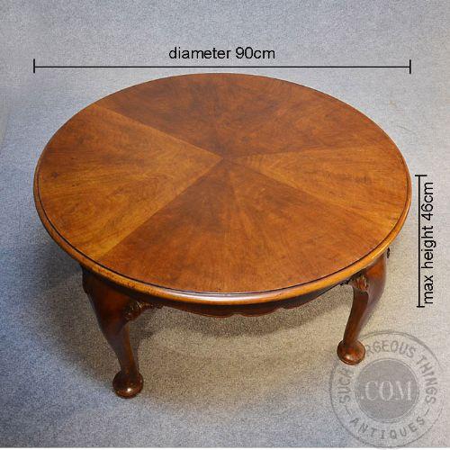 Antique Coffee Table Low Round Sofa Circular Magazine