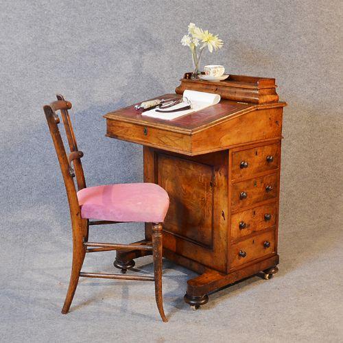 antique victorian burr walnut davenport writing desk leather slope study  c1850 - Antique Victorian Burr Walnut Davenport Writing Desk Leather Slope