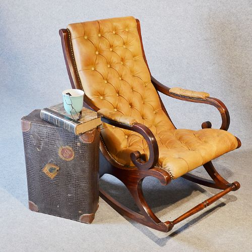 Antique Leather Rocking Study Chair Lounger Armchair Mahogany English C1900