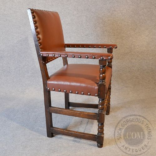 Antique Quality Oak Leather Office Study Chair Desk Armchair Carver Seat C1910 217135