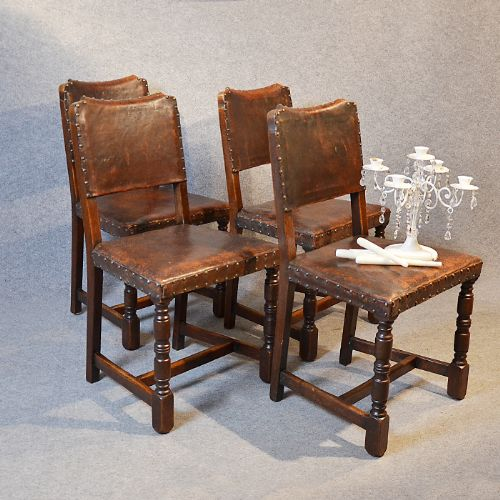 Antique Set Four Oak Leather Dining Chairs Cromwellian Revival - Leather dining chairs uk