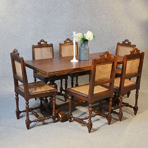 Antique set oak table 6 bergere chairs victorian kitchen for Table bergere