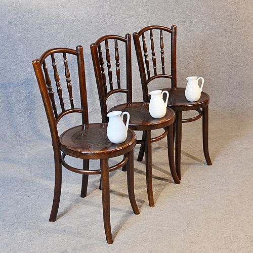 Art Deco Bentwood Set Of 3 Vintage Kitchen Dining Cafe Chairs Mundus Kohn  C1920