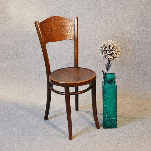 Art Deco Thonet Bentwood Cafe Chair Embossed Seat c1930
