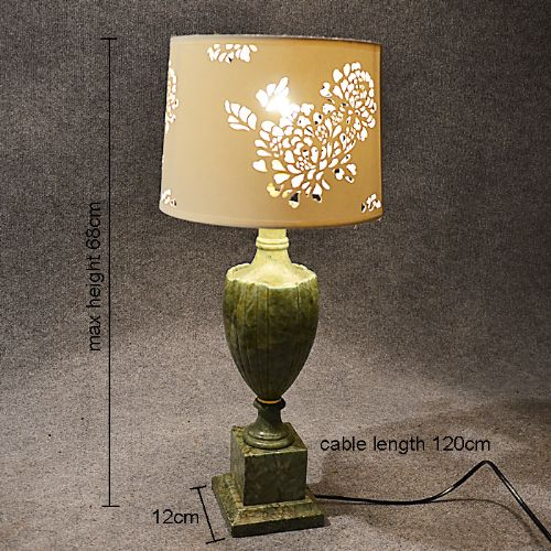 Table Side Lamp Art Deco Quality Jade Green Marble Vintage